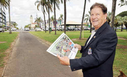 RSL Bundaberg sub-branch deputy president Paul Tramacchi with the artist impression of the proposal to redevelop Anzac Park.