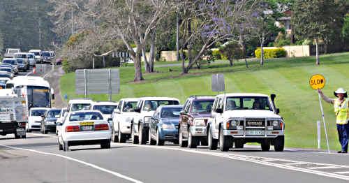 Peak hour traffic at Normanby bridge yesterday morning.