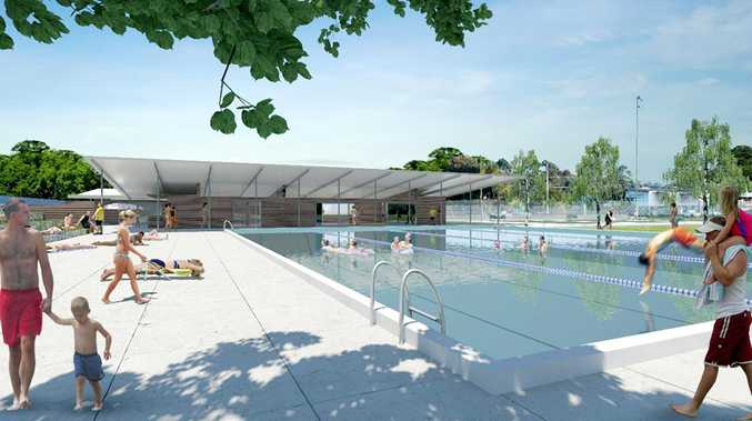An artist's impression of new plans for a Bangalow swimming pool.