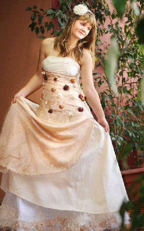 Kadina High School Lismore student Shara Davis models the wedding dress created by Eliza Watson.