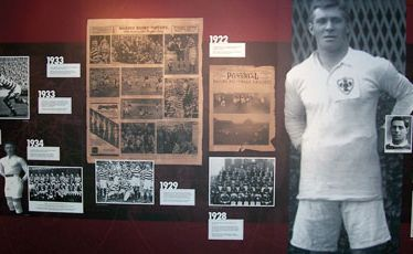 A heritage display at the George Hotel in Huddersfield - the birthplace of rugby league.