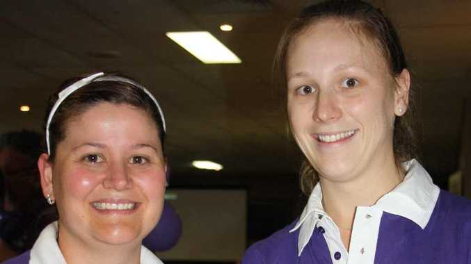 Lauren Greenway and Katrina Smith volunteering at the Relay for Life 2011 Launch