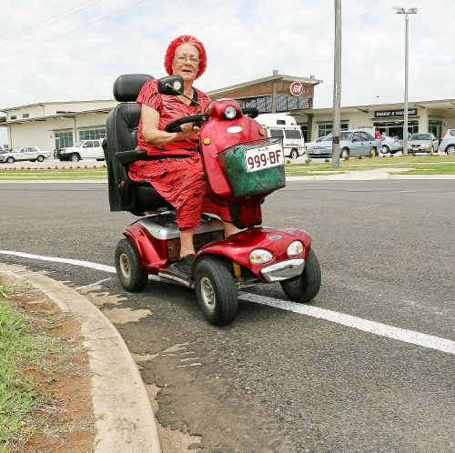 Jean Harold is upset there is no mobility scooter ramp from Hermans Road on to the footpath near the new Burnett Heads IGA shopping centre.