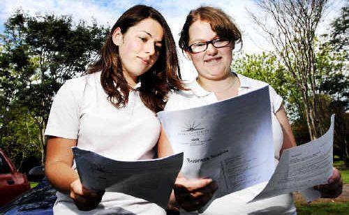 Alstonville High School students Jasmine Parer and Sonja Dorey debrief after their first HSC examination, Business Studies, yesterday.