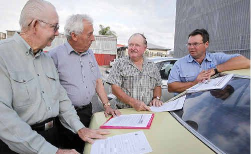 DRIVE SAFE: Maryborough's three Rotary clubs throw their support behind the Chronicle's Drive 2 Stay Alive campaign, Bill Christensen, Jim Kirk, Mal Harris and Stephen Best.