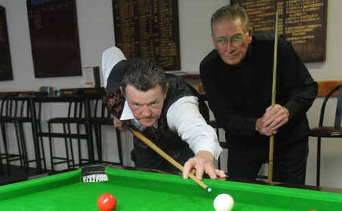 John Baker (right) and Stan Zischke made it to the quarter finals of the Wide Bay Snooker Championships held last weekend at the Gympie RSL.