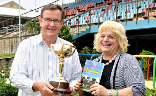 Turf Club president Spencer Slatter with author and owner of a Melbourne Cup winner Wendy Green.