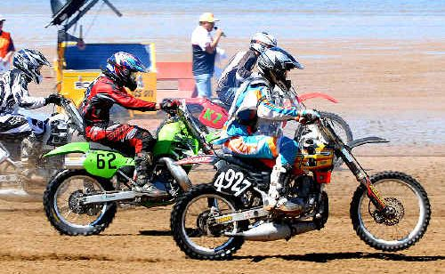 Riders let out the throttle during last year's event on Grasstree Beach.