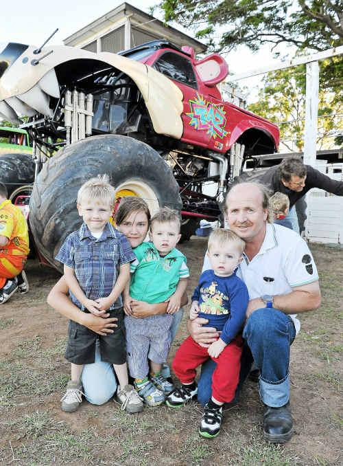 Owen McArthur, Leonie McArthur, Bailey Williams, Thomas Jensen and Neil Jensen at the Monster Trucks Show.