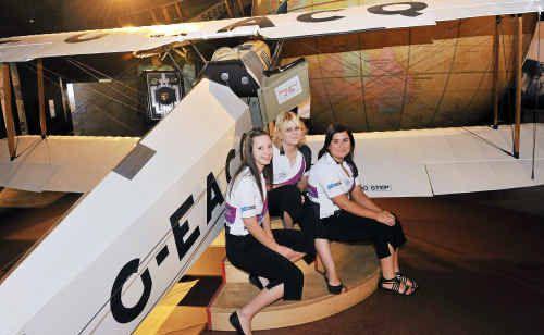 Bundy Thunder girls Tayla Harris, Jacinda Pukallus and Alicia Otto in the Hinkler Hall of Aviation.