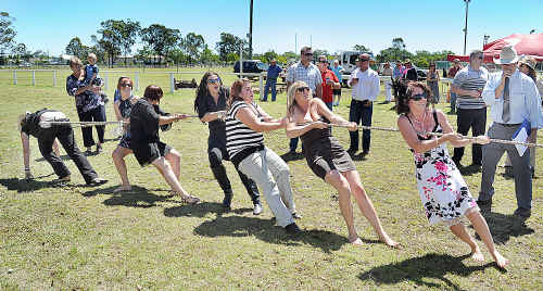 The Bushwackers girls in the women's tug-of-war.