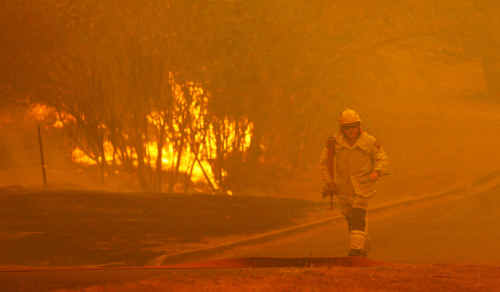 A firefighter heads up Hinds Street to save houses from a large bushfire sweeping along the Berserker range on the outskirts of Rockhampton last year.