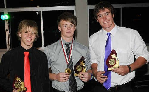 Nathan Stephens (centre) won the inaugural Heat TSR Medal for the player of the year. He is flanked by Nedd Edgar who won most improved and best and fairest Daniel Naismith.