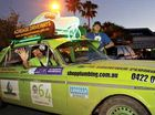 Scott Durston and Damian Sheather drive into Mooloolaba in their Booger Mobile as part of The EsCarpade.