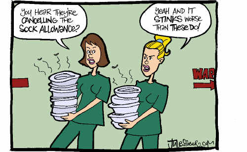 Nurses are not happy that the health service is about to drop their sock allowance.