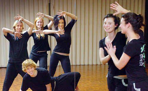 Aldridge State High School teacher Tegan George (right) and talented Year 12 dance team members Dillon Blair, Jackie Whitaker, Sami-Jo Watson and Keron Redman.