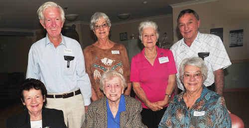 Glenda Love (front left), Mavis Shannon, Jill Neilsen, Bill Gillespie (back left), June Thompson, Alison Scott and Keith Dobbrick at the Newtown State School 1943 reunion on Saturday.