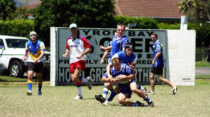 Byron Bay on the attack during a pool game at the Rec Ground last weekend. The Bay lost this game and were knocked out of the competition.