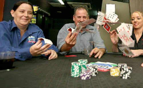 Nellie Woodhouse, Allan McLauchlan and Nikki Trembarth get in some practice ahead of the 888 North Queensland Poker Championships in Mackay this weekend.