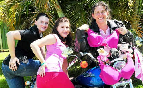 Emily Moller, Caitlyn Groundsrtoem and Andrea Goulding are looking forward to the 7th annual Bumz on Bikes event raising breast cancer awareness and funds for the Cancer Coucil Queensland.