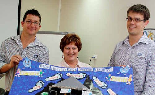 Jason Devitt, Cr Deidre Comerford and David Brooker judged the best poster entry, which went to Walkerston State Primary School, Class Prep E.