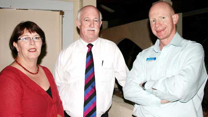 Whitsunday MP Jan Jarratt, State tourism minister Peter Lawlor and Tourism Whitsundays CEO Peter O'Reilly at Waterline on Shingley on Tuesday to chat with community members.