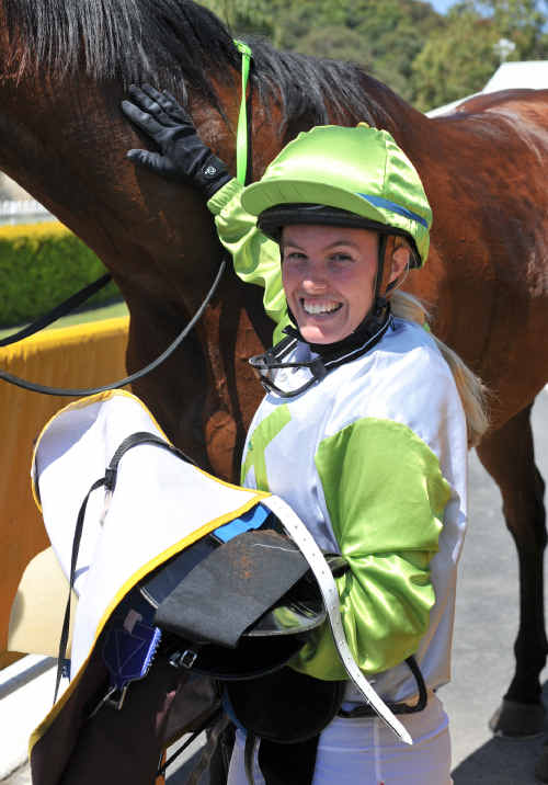 Winner's grin: A happy Melissa Brown returns to the winner's circle with Onetimeatbandcamp.