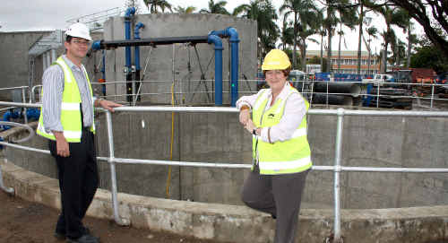 Mackay Regional Council director of water and waste Jason Devitt and water and wastewater portfolio councillor Deirdre Comerford inspect what has been done on the $24 million upgrade of the Nebo Road Water Treatment Plant.