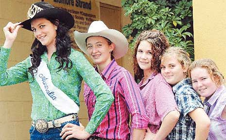 Australia's Rodeo Queen Caitlyn McPhee (left) with Lismore rodeo fans kelly Bryant, Emily Boys, and Amy and Lucy Stuckey.