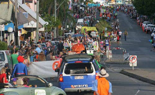 The Whitsunday Reef Festival street parade at Airlie Beach boasted 34 floats.