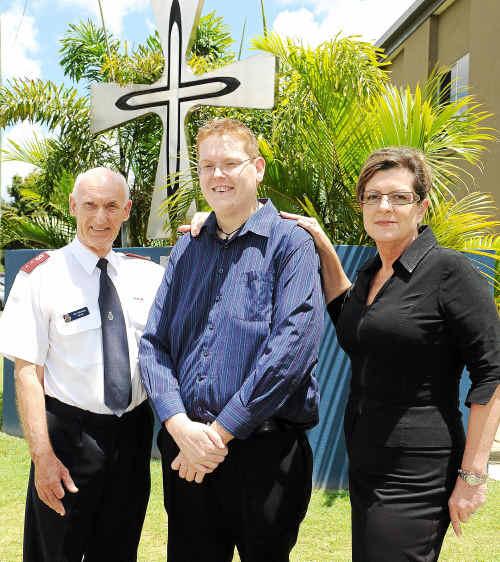 Salvation Army Captain Roy Wenham, Jonathan Shields and Mater Hospital Bundaberg executive officer Adele Wilkinson, outside the Mater Hospital.