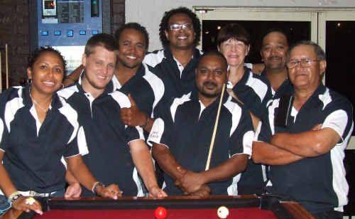 The Pot Black team of Nina Menzies, Chris Daley, Andy Pitt, AJ Minnecon, Peter Mona, Michele Stockton, Terry Tahana and Glen Paia.