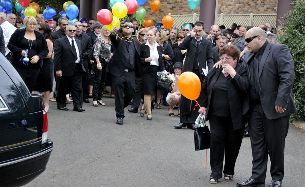 Hundreds of people gather at the Toowoomba Community Baptist Church to farewell champion jockey Stathi Katsidis.