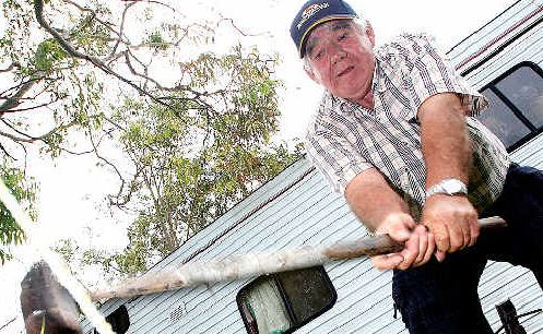 Showman Terry Nilson sets up for his 60th Murwillumbah show.