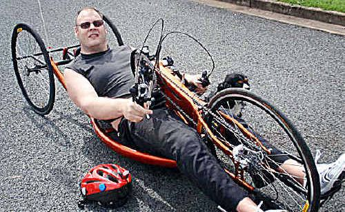 David Warry with his new $8000 hand cycle.