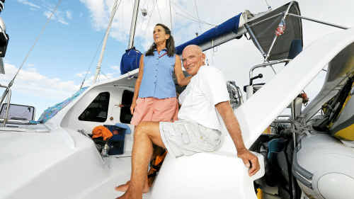 Jim and Kent Milski, of Colorado, aboard their catamaran Sea Level, have finally finished the Port 2 Port yacht rally after stopping to save three fishermen who had capsized their vessel near Vanuatu.