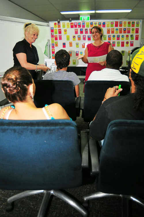 Queensland Correctional Services facilitators Jann-Maree Mitchell and Sophie Dreise conduct the Ending Offending program.