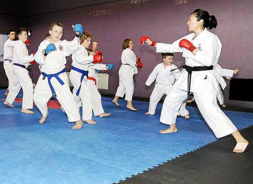 Sensei Mina Yamazaki teaches a karate class at the PCYC on Sunday.
