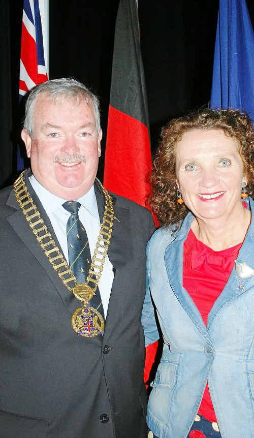 Cr Keith Rhoades with Cr Genia McCaffery at yesterday's ceremony.