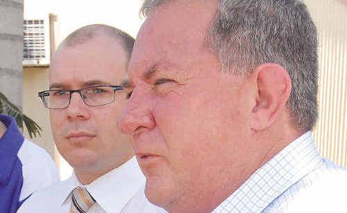 Queensland Treasurer Andrew Fraser, left, and Member for Mackay Tim Mulherin in Mackay yesterday.