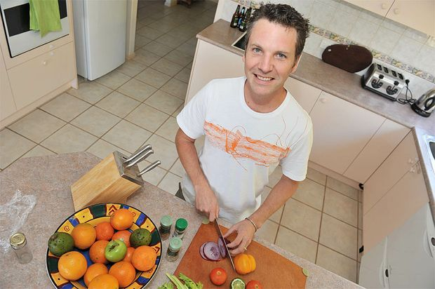 Aerin Schriever at work in his home kitchen has many simple cost effective recipes.