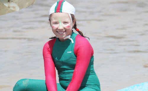 Mackay under 12 athlete Elyse Alexander rests between events.