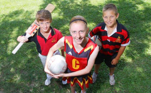 Rockhampton Grammar students Lachlan Knuth, Mikeeley Hoch and Kurth Wiltshire love their sport and are willing to give just about anything a go.