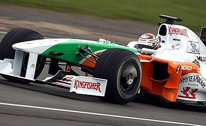 The Force India F1 VJM02 is part owned by entrepreneur Vijay Mallya.