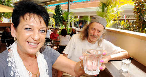 Happy to drink Lismore's fluoride-free water is SA Independent MP Ann Bressington, pictured with Lismore activist Al Oshlack.