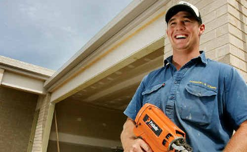 Adam Geddes, who works for Michael Lucas Constructions, a subcontractor for BK Ganter Homes, is hard at work on a new home at Gracemere after a wet couple of months caused a backlog of jobs.