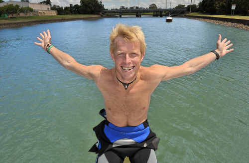 Ben Southall is a happy ambassador after diving around the wreck of HMAS Brisbane yesterday.