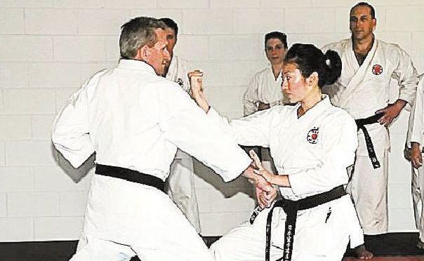 Gympie Karate Club Sensei Noel Turner and Sensei Minako Yamazaki go through their paces during one of the seven seminars.