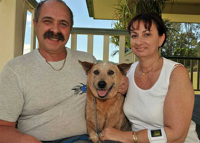 Rodney and Marisa Page with their Kelpie cross Lucky.