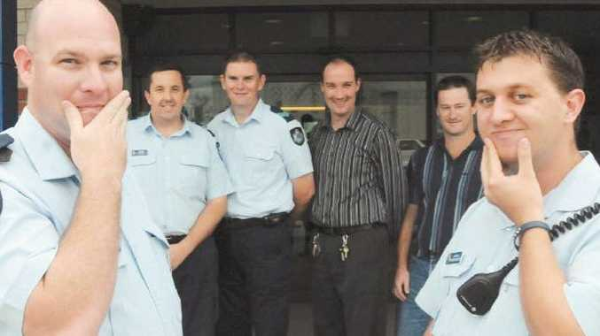 Gympie Police growing moustaches for Movember are (front) Const Scott Chambers, Const Nathan Broughton and (back) Sgt Peter Bailey, Sgt Chris Mahon, admin officer Rowan Hanlon and communications officer Brett Laing.